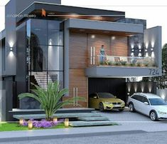 We usually love when someone makes a top of something. In this case, we wondered which are the most beautiful modern homes that are built. Indian House Exterior Design, Modern Exterior House Designs, Modern House Facades, Modern Bungalow House, Modern Architecture House, Architecture Layout, Architect Design House, Bungalow House Design, House Front Design