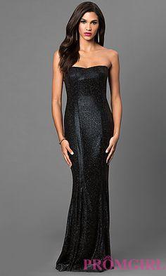 Glitter Floor Length Strapless Dress at PromGirl.com