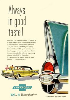 1957 Chevrolet Ad - It's Got Glamour To Spare #chevy #hoseltonsellschevys www.hoseltonchevrolet.com