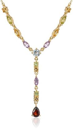 "Yellow Gold Plated Sterling Silver Multi-Gemstone Necklace, 17"" >>> See this great product by click affiliate link Amazon.com"