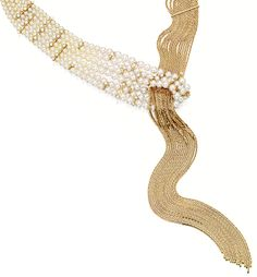 CULTURED PEARL AND DIAMOND NECKLACE, MIKIMOTO, mounted in 18 karat yellow gold.