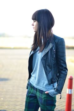 outfit humanoid cashmere sweater leather jacket