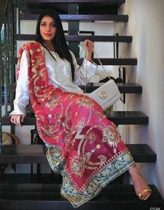 This looks like she took her mothers vintage bridal lehngha dupatta and paired…