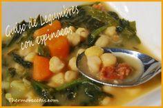 Caldo con Espinacas, Papa, Chorizo, Zanahoria y Garbanzos Thermomix