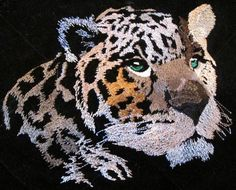 Leopard free machine embroidery design