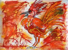 Chinese New Year fire Rooster Art Cockerel by MarieArtCollection