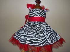 Little Girls Red and Zebra Print Halter Twirl Dress. Holiday, Pageant, Birthday wear. $43.00, via Etsy.