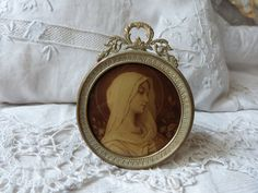 Antique French religious Holy virgin Mary frame relic icon reliquary medallion w our Mother Madonna drawing in ormolu picture frame w bow by MyFrenchAntiqueShop on Etsy