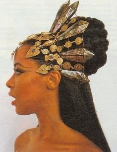 aaliyah ...in a goddess inspired golden metal headdress tiara crown