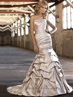 Flattering Trumpet Beaded Sweetheart Ruched Bodice Wedding Dress