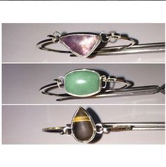 Adjustable, and with interchangeable charms, these bracelets are perfect for mixing, matching, and stacking! Pictured are 20x12mm triangular amethyst, 18x14mm rounded rectangular green aventurine, and 18x12 pear-shaped tigereye charms. #handmade #sterlingsilver #925 #semiprecious #gem #gemstone #cuff #bracelet #cuffbracelet #amethyst #greenaventurine #aventurine #tigereye #tigerseye #kcan_creations #madetoorder #hammered #adjustable #interchangeable #charm #charms #stacking #armparty…