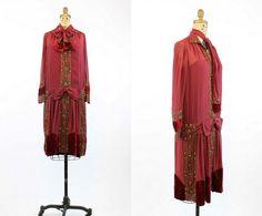 20 s robe or XS lingots de soie et de velours par CrushVintage