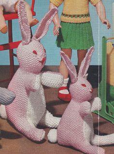 Vintage Knitting Pattern Bunny Rabbit Soft Toy Stuffed Animals