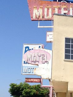 Vintage motel signs still in good use. Next to my local gas station and been meaning to take this photo for 8 years!
