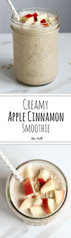 The perfect fall breakfast recipe - Creamy Apple Cinnamon Smoothie! Perfect for people who are vegan, vegetarian and can easily be made gluten-free or paleo! Click to read now or pin for later!