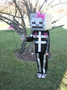 Minecraft Skeleton Costume - Nathan's pick for 2013, minus the pink, LoL