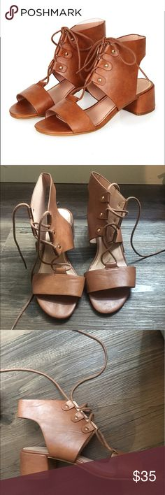 Topshop Dance lace up sandals Low heeled sandals that lace up. Worn twice so pretty great used condition. These are actually sooo comfortable and soft leather! Run true to size Topshop Shoes Sandals