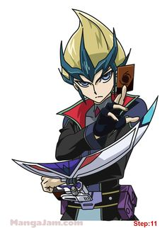 How to Draw Kaito Tenjo from Yu-Gi-Oh step 11