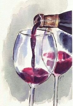 Pouring Red Wine Art __[Via Etsy by jojolarue] #cCreams #cMaroon #glass