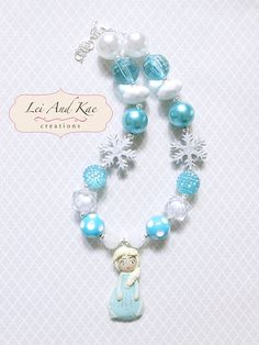 Frozen Queen Elsa Inspired Handmade Pendant Chunky Bubble Gum Necklace - Photo Prop Fashion Accessory on Etsy, $25.00