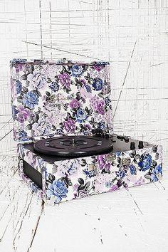 Crosley Keepsake Turntable in Blue Floral UK Plug
