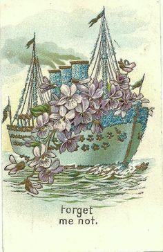 Forget me not Victorian Postcard Images Ship, Aqua Blue, Steamboat
