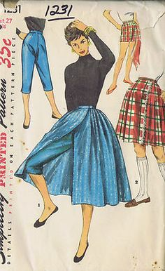 Vintage 50s Wrap Around Skirt and Tapered Pants Pattern in Two Lengths    Wardrobe of playtime separates features wrap-around skirts to be worn with matching or contrasting tapered Pants of Shorts.  View 1 Skirt is street length.  Knee length Pants have slits at lower edge of side seams.  View 2 Kilt Skirt is fringed at right front front edge.  Shorts are worn in this view.