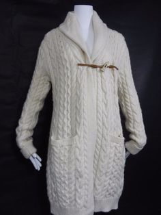 RALPH LAUREN Rugby 100% WOOL IVORY FISHERMAN TOGGLE SWEATER CARDIGAN COAT M in Clothing, Shoes & Accessories, Women's Clothing, Sweaters | eBay
