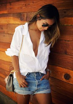 White shirt denim shorts sincerely Jules summer outfit street style chic