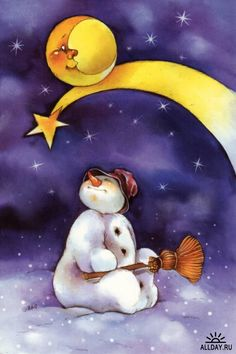 snowman looking up at moon and star, and the star is Susie🎇🎇🎇 Christmas Snowman, Christmas Crafts, Image Halloween, Image Nature, Images Vintage, I Love Winter, Sun And Stars, Good Night Moon, Frosty The Snowmen