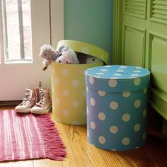 """Put a Lid on Toys & More (From BHG.com """"17 Ways to Organize Kid Gear & Stuff""""). I don't have kids yet, but I like their ideas on ways to help keep kids' things organized."""