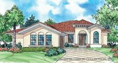 The Edda Lago is a small, luxury Mediterranean plan home plan with 3 bedrooms, 2 baths, and step ceilings in both the living room and master bedroom.