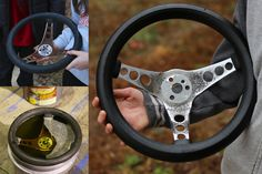 The guys at @Evapo_Rust said we would see pitting in the chrome based on what they saw on the wheel. Our plan was to keep the original racing wheel that came on our Austin Healey race car but was hoping to remove some excess rust if possible....turned out much better then I thought it would. Very safe product (Neutral PH/Water Based). I let my kids do the work-pretty easy-let soak and rinse. It has saved us hundreds of dollars on hard to find nuts/bolts. Love this product. #MyBarnFind…