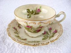 Cup And Saucer Moss Rose Norcrest Demi Cup And Saucer 1950s Hand Painted Gold