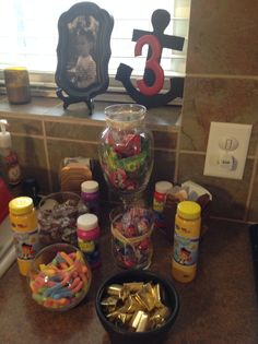 Party favors! Treasure boxes, jewels(ring pops), cannonballs(gum balls), fish bait(sour worms), gold(Hershey nuggets), barrels of beer(rootbeer hard candy) and bubbles!! Perfect for a pirate party!