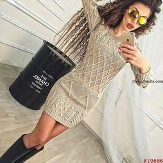 Платье спицами арановыми узорами. Модное платье спицами 2017 Платье спицами арановыми узорами. Модное платье спицами 2017