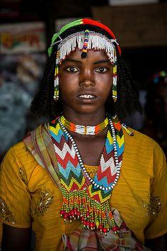 Oromo girl with colorful necklaces near Asebe Teferi, Ethiopia, Africa. #Oromo…