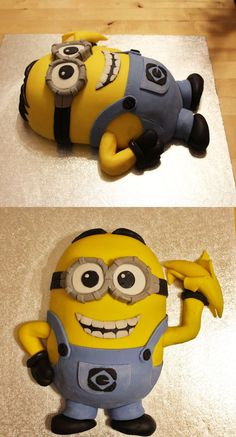 Dave the Minion cake, Despicable Me Pretty Cakes, Cute Cakes, Yummy Cakes, Minion Birthday, Minion Party, Birthday Cakes, Minion Cake Tutorial, Pastel Minion, Fondant Cakes