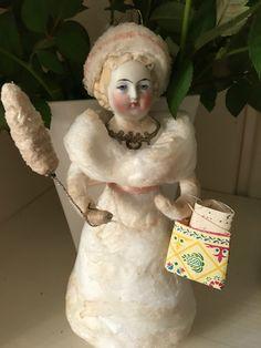 Wattefigur mit alten Porzellankopf,Weihnachten für Federbaum,JDL,Shabby,Vintage   eBay