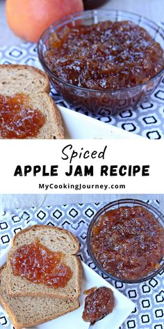 Apples are everywhere and this is the perfect season to make some Spiced Apple Jam. The spices in the jam will make the whole house smelling fabulous. #applejam #spicedjam #dessert #applejamrecipe @mycookinjourney | mycookingjourney.com Dj Am, Apple Jam, Spiced Apples, Jam Recipes, Deserts, Spices, Cooking, Kitchen, Desserts