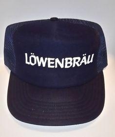 4bcabac5278 VTG Lowenbrau Beer Mesh Snapback Trucker Hat Baseball Cap  TruckerHat