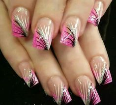 Pink Glitter Tips with Black & Silver