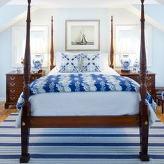 traditional but updated blue bedroom with rice bed Bedroom Color Schemes, Bedroom Themes, Bedroom Colors, Bedroom Decor, Bedroom Ideas, Bedroom Designs, Bedroom Lighting, Bedroom Ceiling, Bedroom Photos