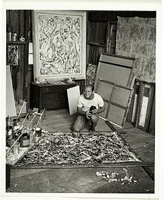 jackson pollock in studio | Jackson Pollock in his studio, from the Jackson Pollock and Lee ...