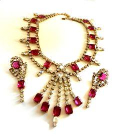 AMAZING Vintage Pink PARADISE  Rhinestone Necklace by RAKcreations, $148.00