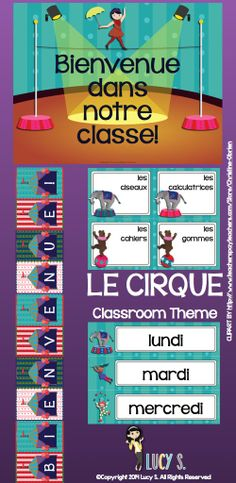 FRENCH - acrobats, clowns, lions, elephants, popcorn and more! This set of circus - themed printables is going to turn your classroom into the greatest show on Earth! LE CIRQUE #francais