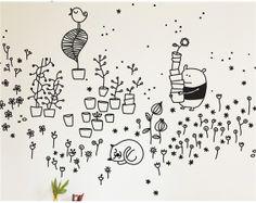 Springtime Garden - detail - wall sticker by Bumoon
