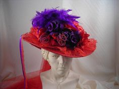 Victorian Touring Hat Red w/ Purple.