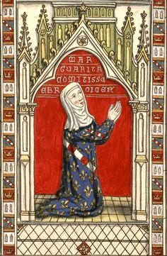Marguerite d'Artois, comtesse d'Évreux, †1311. Dessin d'un vitrail de N.-D. d'Évreux (Gaignières 234). «MARGUARITA COMITISSE (sic!) EBROICENSIS»