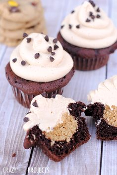 Peanut Butter Cookie Dough Cupcakes-Cookie dough baked right inside and topped with peanut butter frosting
